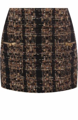 Буклированная мини-юбка с карманами Balmain. Цвет: коричневый