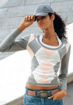 Пуловер FLASHLIGHTS. Цвет: серый (осн.), розовый (осн.)