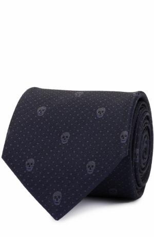 Шелковый галстук с узором в виде черепов Alexander McQueen. Цвет: темно-синий