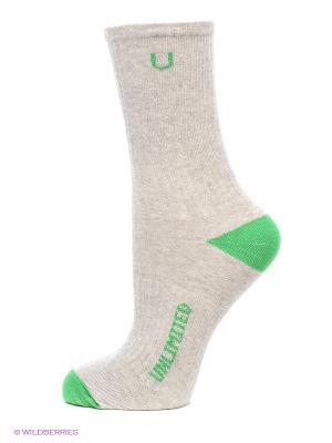 Носки спортивные 3 пары Unlimited. Цвет: зеленый, серый меланж