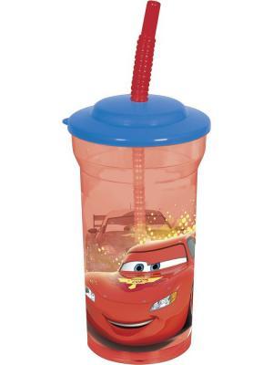Стакан пластиковый с соломинкой и крышкой (прозрачный, 460 мл). Тачки Грани гонок Stor. Цвет: фиолетовый