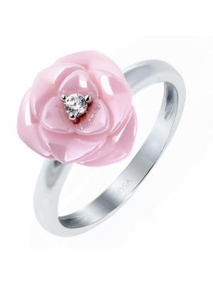 Кольцо Teosa. Цвет: розовый, серебристый