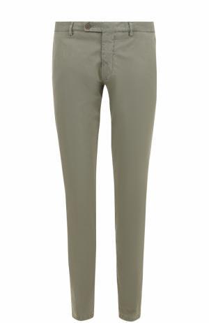 Хлопковые брюки прямого кроя Berwich. Цвет: темно-серый