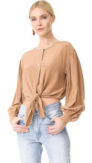 Шелковая блуза с завязками спереди Robert Rodriguez. Цвет: верблюжий