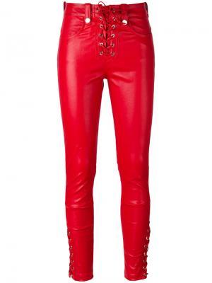 Блестящие брюки на шнуровке Manokhi. Цвет: красный