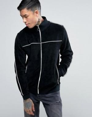 ASOS Черная велюровая спортивная куртка с кантом. Цвет: черный