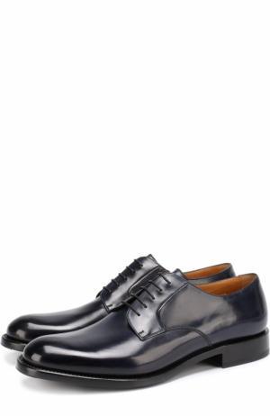 Классические кожаные дерби O`Keeffe. Цвет: темно-синий