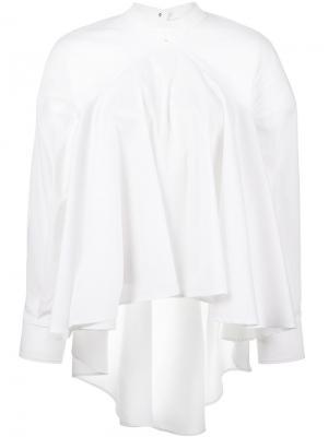 А-образная блузка с плиссировкой и открытой спиной Esteban Cortazar. Цвет: белый