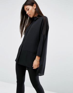 ASOS Мягкая рубашка с полупрозрачными вставками DESIGN. Цвет: черный