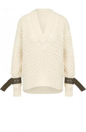 Однотонный пуловер фактурной вязки с V-образным вырезом Sacai. Цвет: бежевый