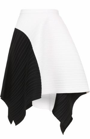 Плиссированная мини-юбка асимметричного кроя Proenza Schouler. Цвет: черно-белый