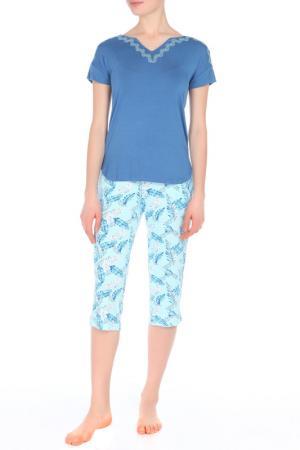 Пижама с капри Relax Mode. Цвет: рисунок пальмы