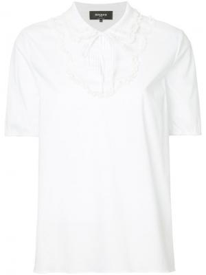 Блузка с плиссированным нагрудником Rochas. Цвет: белый