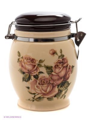 Банка для сыпучих продуктов Розы, 690 мл LORAINE. Цвет: молочный, коричневый
