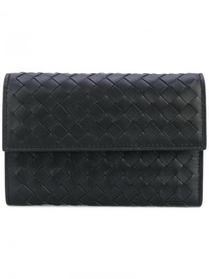 Плетеный кошелек с откидным клапаном Bottega Veneta. Цвет: чёрный