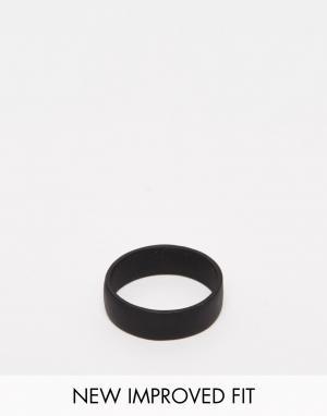 ASOS Черное матовое кольцо. Цвет: черный
