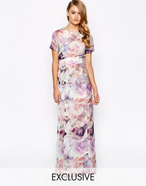 True Violet Платье макси с цветочным принтом. Цвет: мульти