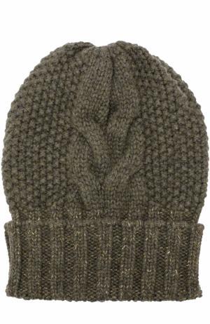 Кашемировая шапка фактурной вязки Kashja` Cashmere. Цвет: хаки