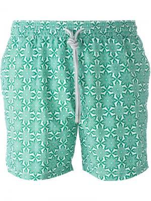 Плавательные шорты с орнаментом Capricode. Цвет: зелёный