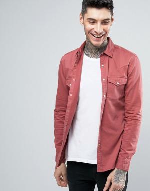 ASOS Розовая приталенная джинсовая рубашка в стиле вестерн. Цвет: светло-бежевый