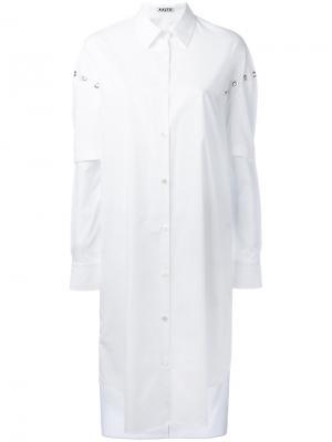 Платье-рубашка с люверсами Aalto. Цвет: белый