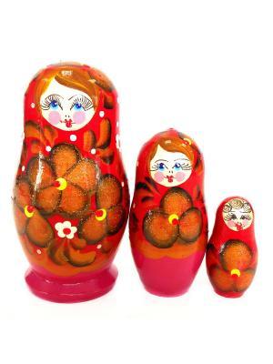 Матрешка - Тройка красная с золотыми цветами Taowa. Цвет: красный, розовый