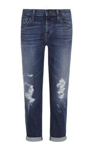 Укороченные джинсы с отворотами и потертостями J Brand. Цвет: синий