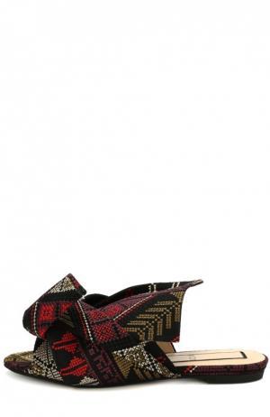 Текстильные сабо с вышивкой и бантом No. 21. Цвет: черный