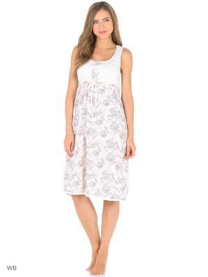 Ночная сорочка NAGOTEX. Цвет: белый, коричневый