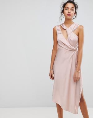 Keepsake Асимметричное платье миди. Цвет: розовый