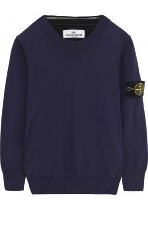 Хлопковый пуловер с нашивкой Stone Island. Цвет: синий