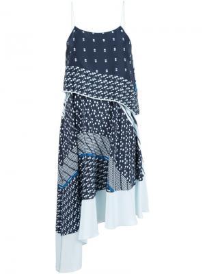 Платье асимметричного кроя Jonathan Simkhai. Цвет: синий