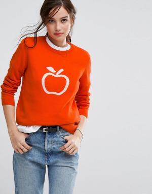 People Tree Джемпер из органического хлопка с узором яблока. Цвет: оранжевый