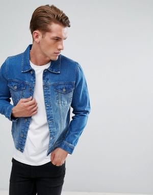 LDN DNM Синяя выбеленная джинсовая куртка. Цвет: синий