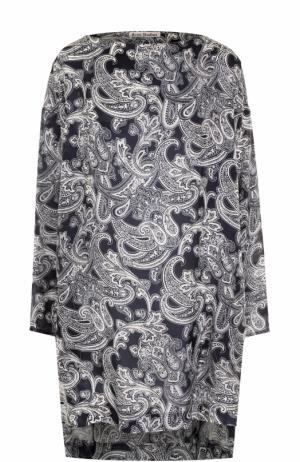 Мини-платье с удлиненной спинкой и принтом Acne Studios. Цвет: синий