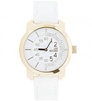 Часы с белым кожаным ремешком Moschino