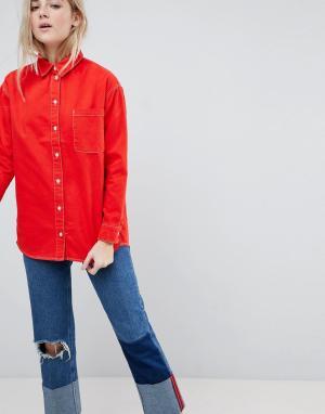 ASOS Красная джинсовая рубашка с контрастной строчкой DESIGN. Цвет: красный