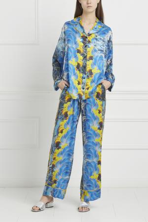 Шелковые брюки Romance Was Born. Цвет: синий, разноцветный
