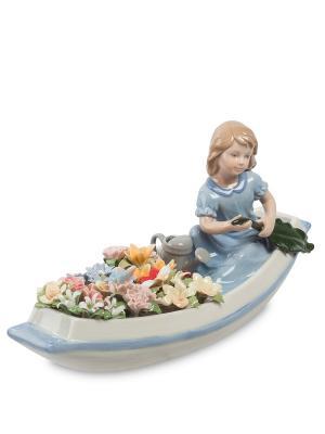 Статуэтка Девочка В Цветочной Лодке Pavone. Цвет: белый, голубой