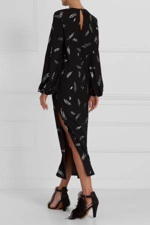 Платье из шелка с принтом A LA RUSSE. Цвет: черный