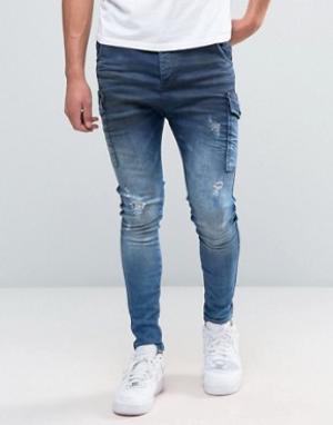 SikSilk Синие джинсы карго. Цвет: синий