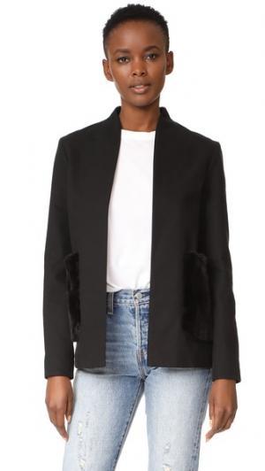 Жакет без воротника с карманами из искусственного меха Harvey Faircloth. Цвет: голубой