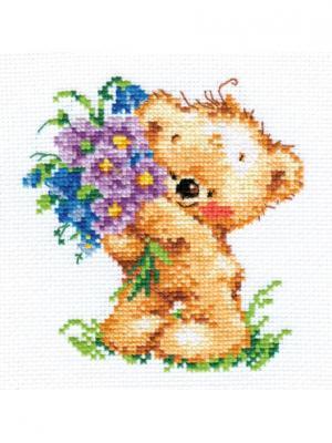 Поздравляю!..  11х12 см Алиса. Цвет: голубой, светло-коричневый, фиолетовый, желтый, зеленый, коричневый