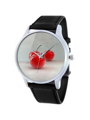Дизайнерские часы Bишенки Tina Bolotina. Цвет: черный, красный, светло-серый