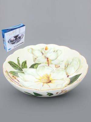 Конфетница-салатник Белый шиповник Elan Gallery. Цвет: белый, зеленый