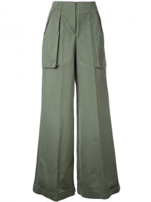 Широкие брюки Monse. Цвет: зелёный