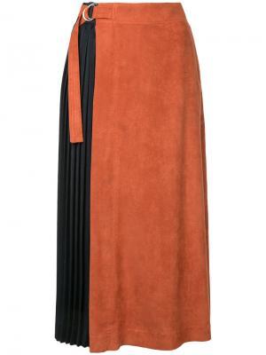 Плиссированная юбка миди Guild Prime. Цвет: жёлтый и оранжевый