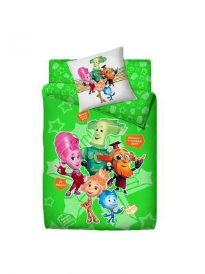 Комплект постельного белья 1.5 фиксики 100% хлопок. Цвет: зеленый