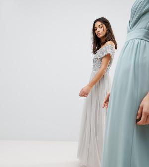 Maya Petite Асимметричное платье из тюля с пайетками на лифе. Цвет: серый