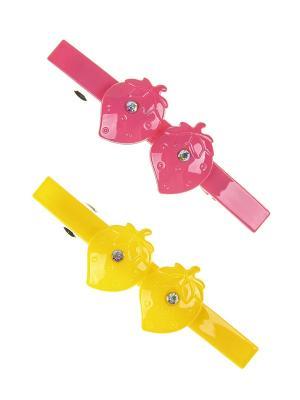 Заколка-автомат (2 шт.) Happy Charms Family. Цвет: желтый, розовый